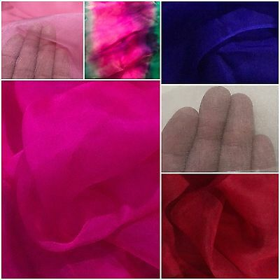 100% Pure Natural Silk Organza Bridal Fabric,6 Color £4.99.From UK Fast Delivery