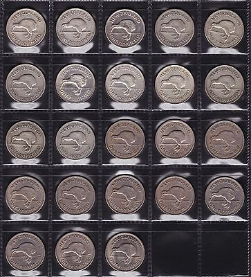New Zealand Florin Set 1933 to 1965 All Dates 23 Coins