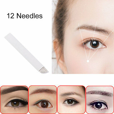 50pcs Permanent Makeup Eyebrow Tatoo Blade 12 PIN Manual Tattoo Pen Blades NH