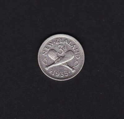 New Zealand 1935 Threepence silver coin