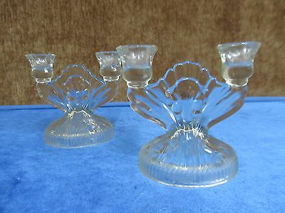 Vintage Set of Ornate Glass Double Candlestick Holders