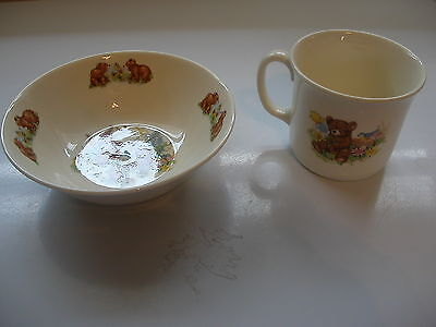 Vintage Royal Kent China Child's Teddy Bear Bowl and Cup