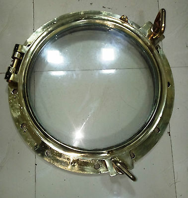 Vintage Marine Nautical Brass Big Porthole 100% Original With Clear Glass