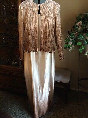 NWT Patra Formal Gown Crinkle Jacket Dress Size 18 Gold Ombre Mother of Bride