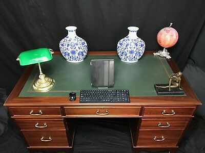 Large Antique Georgian Style Walnut Partners Office Desk Green Leather Top