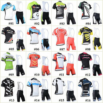 New Bicycle Team Mens Road Bike Clothing Short Sleeve Jersey&Bib Pant Sport Sets