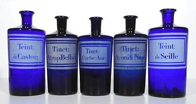 19c. Five Blue Handblown French Apothecary Pharmacy Bottles w/ Etched Labels