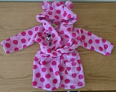 MINNIE MOUSE Girls Pink Dressing Gown 6-12 Months