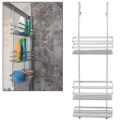 Chrome 3 Tier Large Over Shower Door Screen Caddy Hanging Storage Tidy Basket