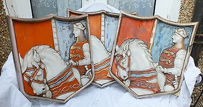 Three 3 antique vintage stone architectural salvage ornaments shields heraldry