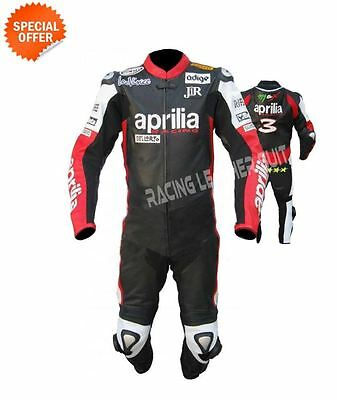 Motorbike aprilia leather suit in black leather with perforated leather and hump