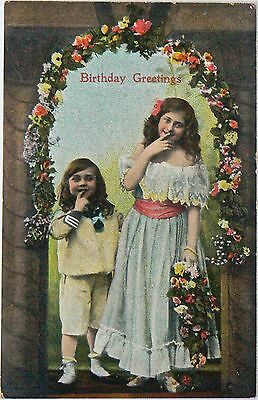 Vintage Postcard.greetings.birthday.about 1906.hand Coloured.