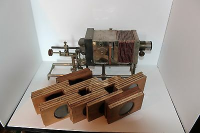 Antique McIntosh StereoOpticon/ Viewer with 36 Masonic Lodge slides.. RARE!
