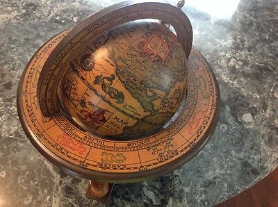 "Vintage Old World Zodiac Wood Desk Top Globe-Italy-11"" Tall"