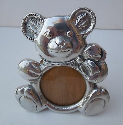 Pewter Mexican Picture Photo Frame Teddy Bear Nursery New Born Baby 1st Birthday