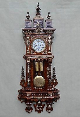 Gustav Becker Beautiful German Two Weight Wall Clock with Bronze Ornaments