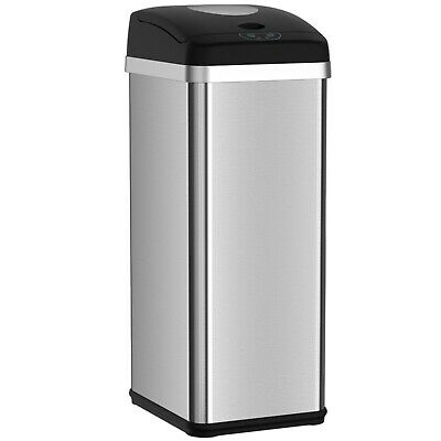 Compactor Trash Can with Automatic Sensor Touchless Lid 13 Gallon Kitchen