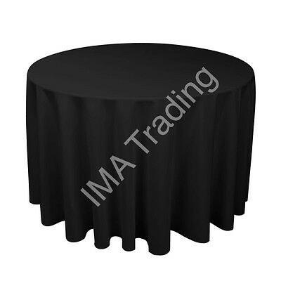 BLACK ROUND TABLE CLOTH 230cm, 90 Inch,  220GSM SPUN POLYESTER TABLE CLOTH