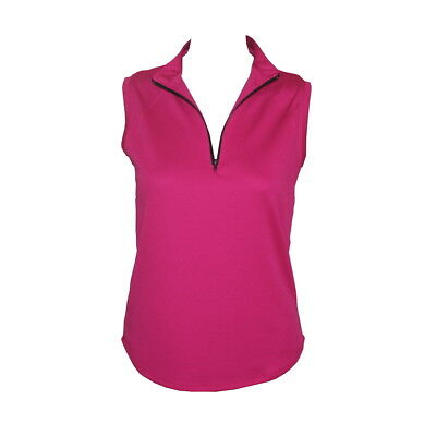 Women's Sleeveless Golf Shirt in Pink with Black Zip Front