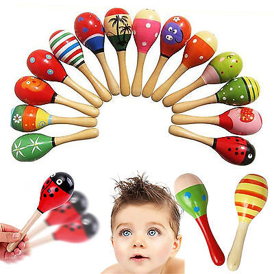 High Wooden Ball Children Bobys Toys Percussion Musical Instruments Sand Hammer