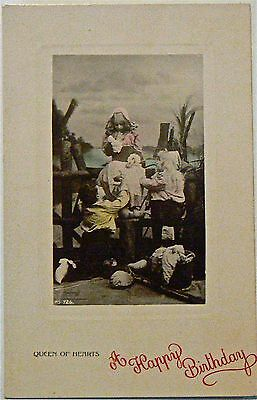 Vintage Postcard.greetings.happy Birthday.queen Of Hearts!good Image,early Card