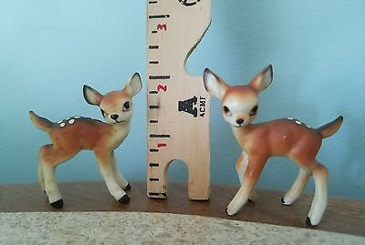 Vtg 2 Bone China Miniature Fawn Spotted Deer~JAPAN~FIGURINE-SWEETNESS STICKER