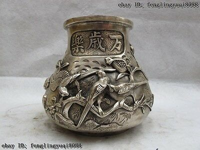 Chinese White Bronze Silver pied magpie Bird Play Plum flower Pot Jar Crock Vase