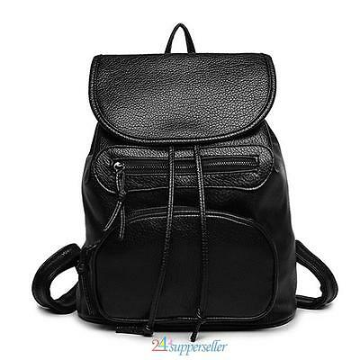 Vintage Backpack Black Women Travel Shoulder Bag Girl Leather Handbag Backpack
