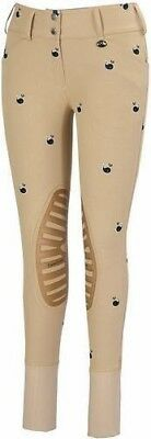 Equine Couture Whales Print Knee Patch Riding Breeches Low-Rise Wide Waistband