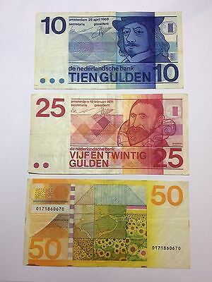 Netherlands 10, 25, 50 Paper Money Lot 1968 To 1982 Rare Set
