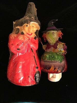VINTAGE GURLEY  WITCH   HOLDING  PUMPKIN  CANDLE NEW SEALED & Nite Light