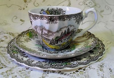 Myott The Brook English Cottage Trio Cup Saucer Plate Made In England