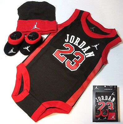 Boys Girls Babies Black Jordan 3 Piece set Baby Bodysuit Outfit 0-6 Months 0 6