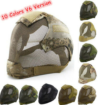 V6 Tactical Airsoft Full Face Ear Protective Masks Mesh Paintball Combat Mask