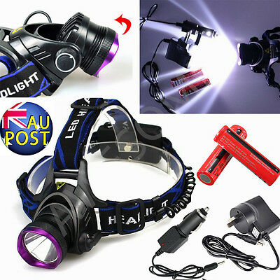 6000LM XML T6 LED Headlight Headlamp Head Torch 18650 Battery Charger Flashlight