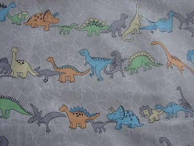 Flannelette Fitted Grey Dinosaurs Cot Sheet Handmade