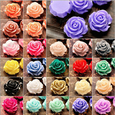Wholesale:10 colors 10mm/12mm/15mm Gorgeous Rose Flower Coral Resin Spacer Bead