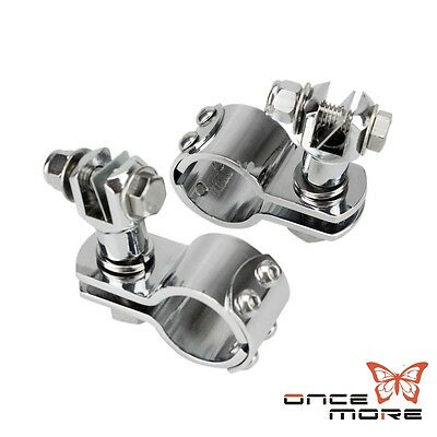 "Chrome 1 1/4"" Foot Peg Footpeg Mount Clamp For Harley Engine Guard Highway Bar"