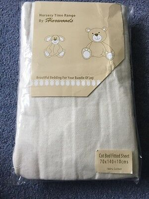 Cream Cot Bed fitted Sheet 70 X 140cm