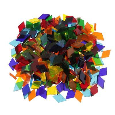 250pcs Multicolor Rhombus Clear Glass Pieces Mosaic Tiles Art Crafts 11mm