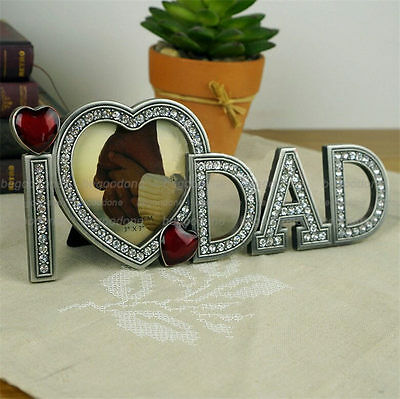 Father's Day Gift Alloy Crystal Love Dad Photo Frames Red Heart Photo Frame Gift