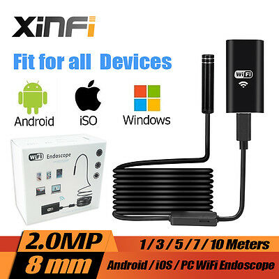 2.0MP iOS Android Wifi HD 720P Endoscope 3m Borescope pipe camera Snake Camera