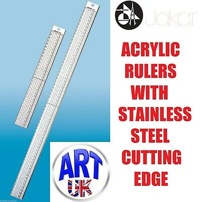 Jakar Clear Acrylic Ruler with Steel Cutting Edge Strip 30cm 60cm Art & Craft