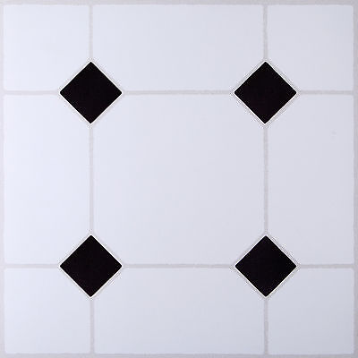 4 Pack DIY Self Adhesive Vinyl Floor Tiles Bathroom Kitchen black & white effect