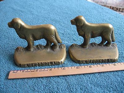 Vintage Solid Brass Newfoundland Dog Bookends Made by NAFCO Canada Foundry GREAT