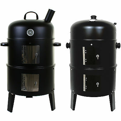 Marko Round Smoker BBQ Charcoal Barbecue Grill Outdoor Garden Patio Party Cooker