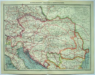Original Map of Austria Hungary: Industries & Communication by G. Philip c1906