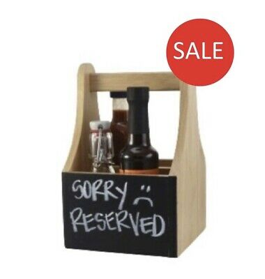 Wooden Cutlery Sauce Condiment Holder Caddy With Chalkboard 2 Compartments