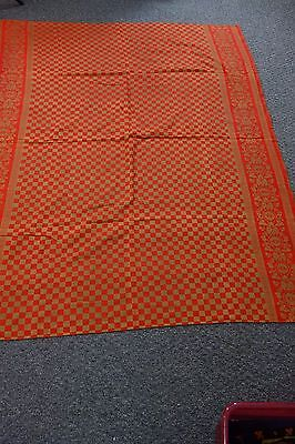 Victorian Linen Tablecloth-53x66-Red/Brown Plaid w/Asters Border-VG-LOVELY- SALE