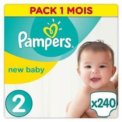 PAMPERS New Baby Taille 2 - 3 a 6kg - 240 couches - Format pack 1 mois